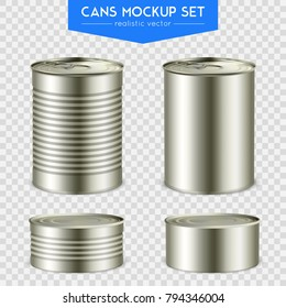 Four realistic cylindrical tin mockup cans various height with top and bottom set transparent background vector illustration
