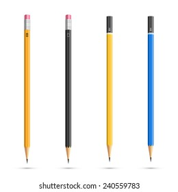 Four realistic vector pencils with diferent classic design