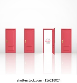 Four red doors, one open and the others closed. Vector design.