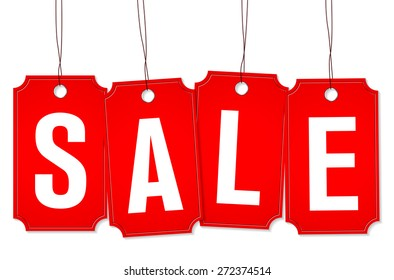 Four red price tags on rope with SALE text - vector illustration