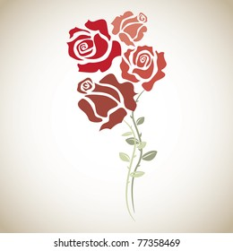 four red roses - sketch illustration