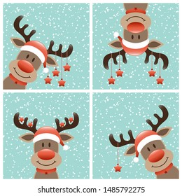 Four Reindeers Christmas Stars Winter Forest Snow Turquoise