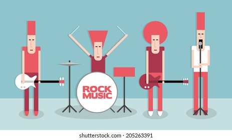Four rock musicians, rock band, cartoon vector illustration on blue background, flat style