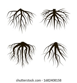Four roots of black trees of different shapes and splendor. Vector illustration. Stock Photo.