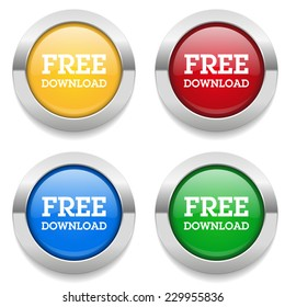 Four round buttons with free download text and metallic border