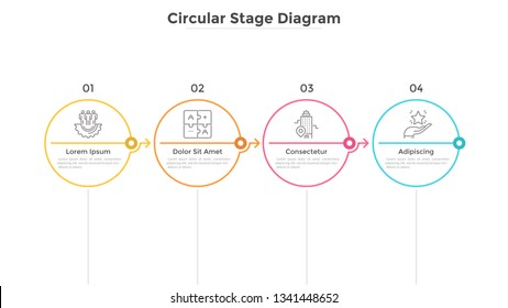 Four round elements arranged in horizontal row and connected by arrows. Concept of 4 successive stages of business development. Infographic design template. Flat vector illustration for progress bar.