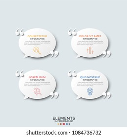 Four round paper white speech bubbles with linear pictograms, place for text inside and quotation marks. Concept of 4 motivational slogans. Modern infographic design template. Vector illustration.