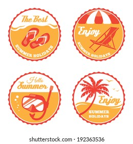Four round summer labels with deck chair, flip flops, scuba mask and palm tree in vector