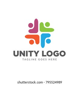 four round unity people care logo icon vector template