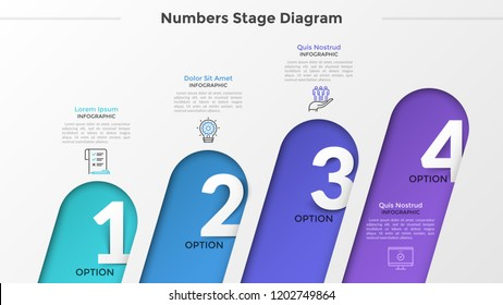 Four rounded sloped elements with numbers inside placed into horizontal row, linear icons and text boxes. Concept of 4 successive steps of development. Infographic design layout. Vector illustration.