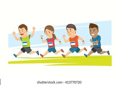 Four runners were running together Cartoon