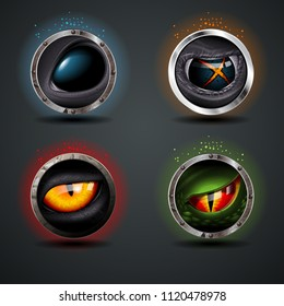 Four Scary eyes, steely rounded badge icon. For Ui/Game.