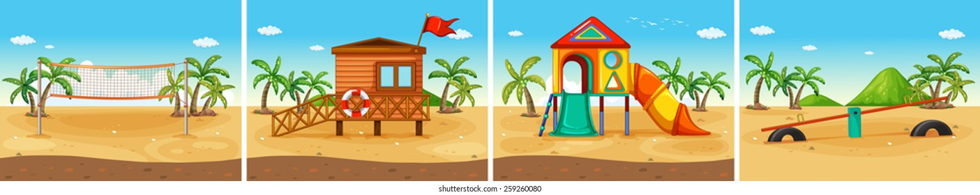 Four scenes of beach and playground