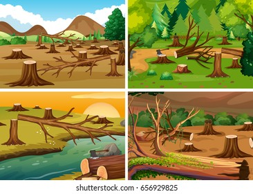 Four scenes of deforestation illustration