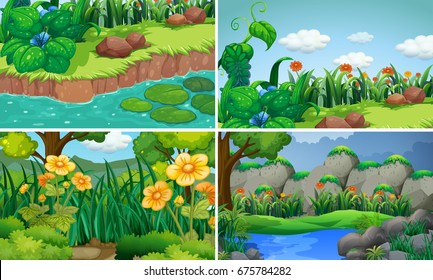 Four scenes with flowers in garden illustration