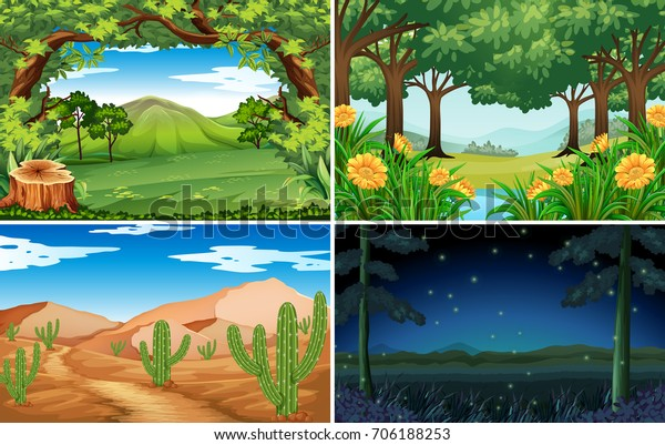 Four scenes of forest and desert illustration