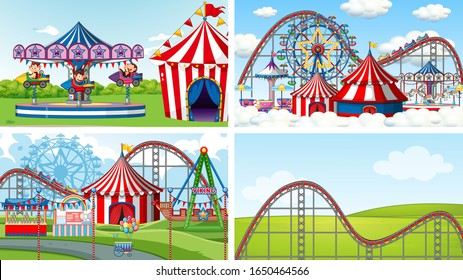 Four scenes with many rides in the fun fair illustration