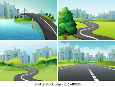 Four scenes of roads to the city