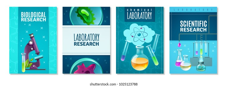 Four science isolated banners with laboratory tools for genetics chemical and biological research flat vector illustration