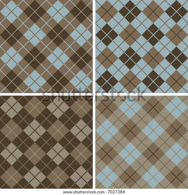 "Four seamless 6"" repeating vector argyle patterns in soft browns and light blue."