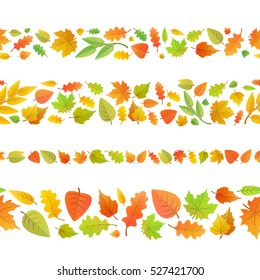 Four seamless borders made from cute autumn leaves isolated on white