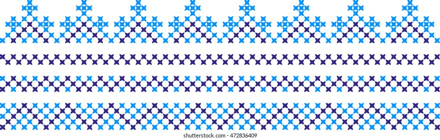Four seamless embroidered borders