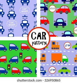 four seamless pattern with cars on the road background