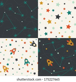 Four seamless pattern of planets, rockets and stars. Cartoon planet icons. Kid's elements for scrap-booking. Childish background. Hand drawn vector illustration.