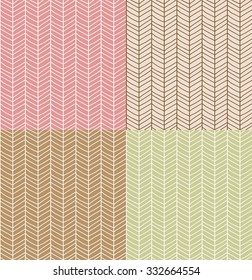 Four seamless patterns with hand drawn chevron line grid, vector illustration