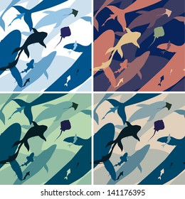 Four seamless texture with silhouettes of different fish