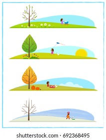 Four Season Clip art - Cute clip art of the four season cycle, with a little girl and her goose. Eps10