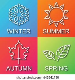 four season gradient logo, outline trendy vector design