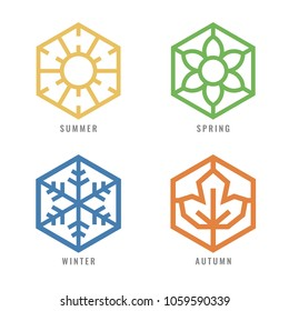 four season Hexagon icon  with sun sign for summer flower sign for spring snow sign for winter and Maple leaf for autumn vector design