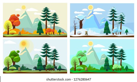 Four season landscape. Spring autumn summer winter weather nature scenery vector cartoon background
