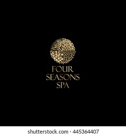 Four season logo, Spa. Gold logo, isolated on a dark background.