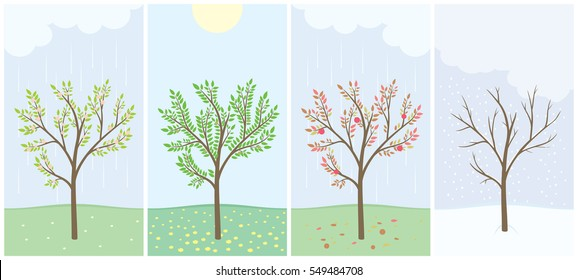 Four season with tree. Spring, summer, autumn and winter. Passing of time. Simple vector illustration