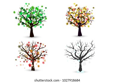 Four season trees isolated, nature environment maple tree concept vector illustration
