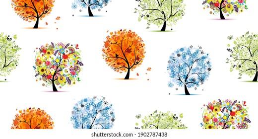 Four season trees- spring, summer, autumn, winter. Seamless Pattern for your design. Vector illustration