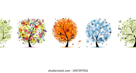 Four season trees- spring, summer, autumn, winter. Seamless Pattern for your design. Vector illustration
