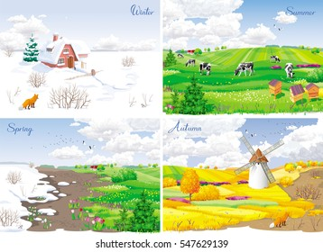Four seasonal rural landscapes (winter, spring, summer, autumn) with fields, cows, windmill and apiary.