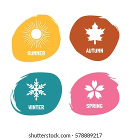 four seasons abstract flat design, vector icons with abstract brush circle