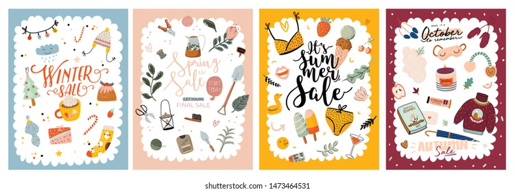 Four Seasons background. Sale banners with Winter, Spring, Summer, Autumn elements and lettering. Vector cartoon illustration. New Year holiday, gardening, flowers, ice cream, cozy sweaters, candle.