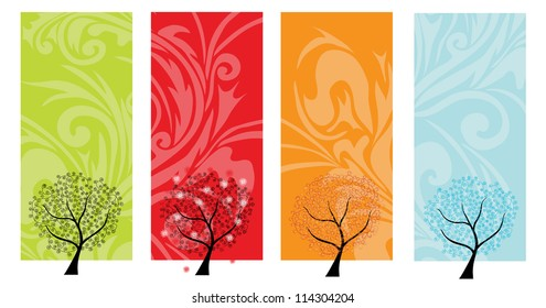 four seasons banners with abstract trees