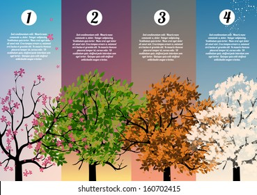 Four Seasons Banners with Abstract Trees Infographic - Vector Illustration