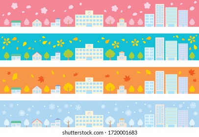four seasons cityscape frame set, house and school and office and sky and tree town