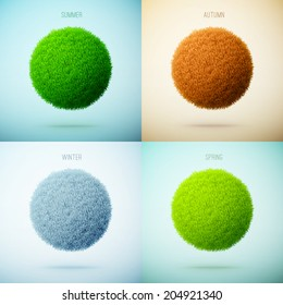 Four seasons collage. Spring, Summer, Autumn, Winter. Grass circle shape. eps10 vector illustration