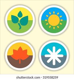Four seasons flat thin icon set. Vector illustration of winter, Spring, Summer, Autumn symbols.