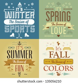 Four Seasons Graphic Illustration Vintage Greeting Cards