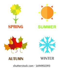 Four seasons icons set: winter, spring, summer, autumn. Logos snowflake, sun, leaf, flower