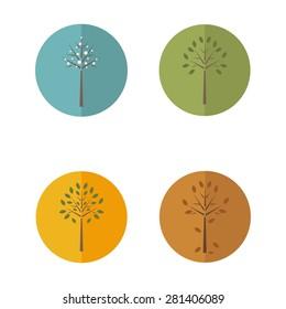 Four seasons icons. Vector illustration.